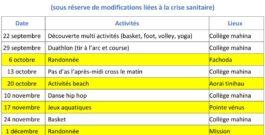 AS/SANTE LOISIRS (calendrier des activités)